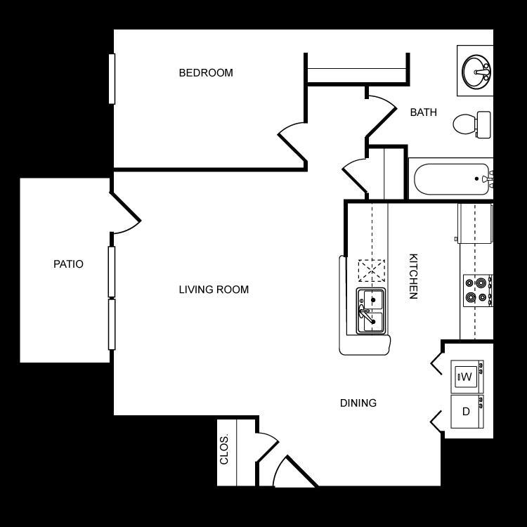 713 sq. ft. A floor plan