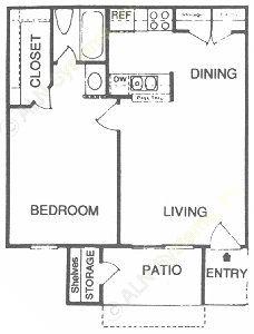 564 sq. ft. A floor plan