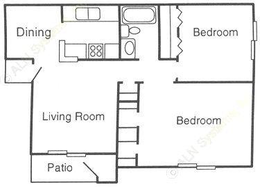 842 sq. ft. B floor plan