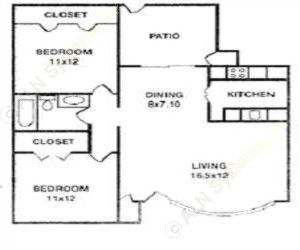 815 sq. ft. HAMPTON floor plan