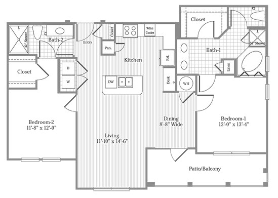 1,184 sq. ft. B2-A floor plan