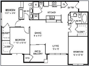1,302 sq. ft. C1/60% floor plan