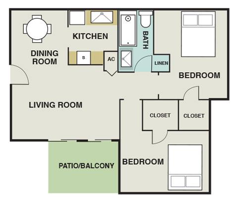 804 sq. ft. B2 floor plan
