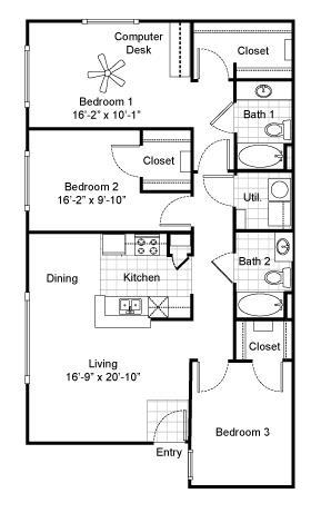 1,225 sq. ft. C1 floor plan