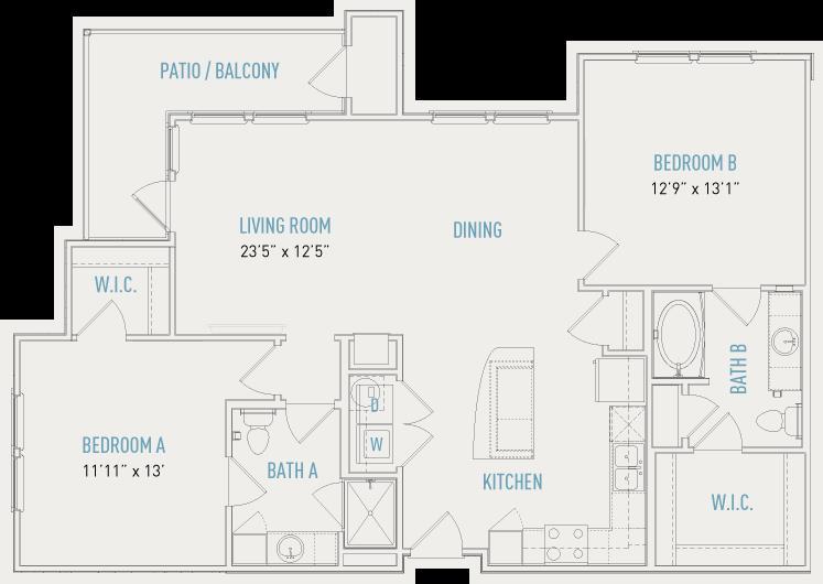 1,209 sq. ft. B4A floor plan
