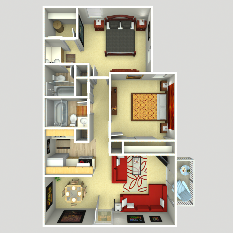 845 sq. ft. B-1B floor plan