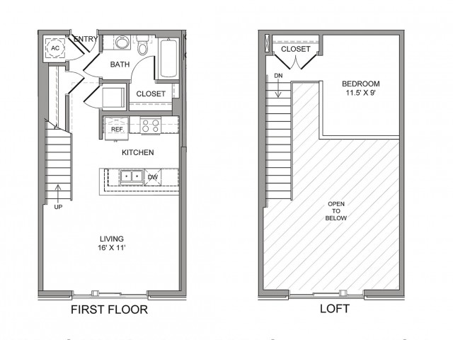 731 sq. ft. Harwood floor plan
