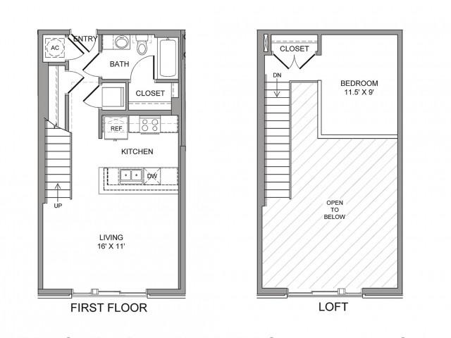 731 sq. ft. Harwood floor plan