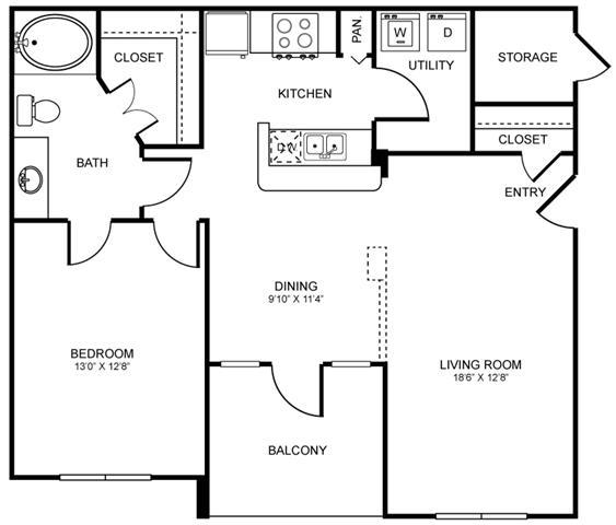 803 sq. ft. A5 floor plan