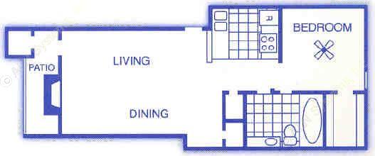 610 sq. ft. A2 floor plan