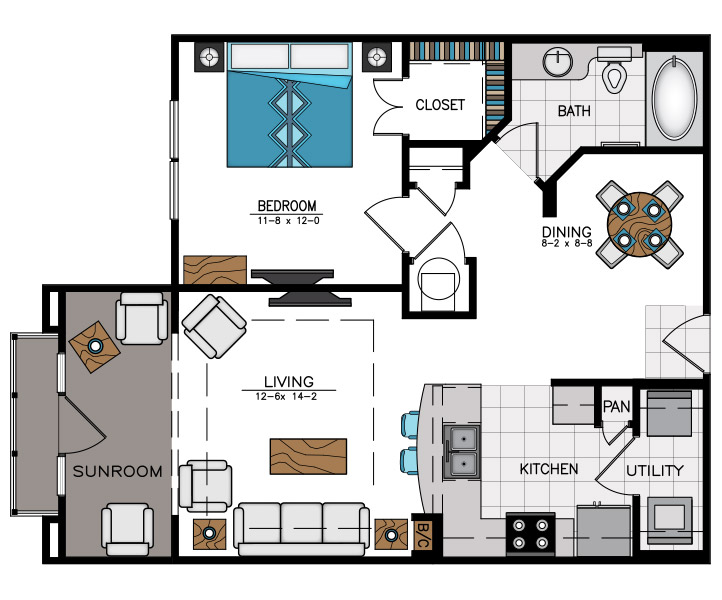859 sq. ft. A6C floor plan