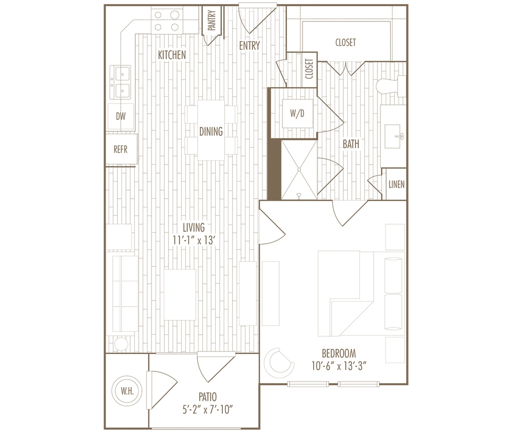 609 sq. ft. A floor plan