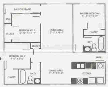 919 sq. ft. 2B/60% floor plan