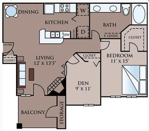 939 sq. ft. B floor plan