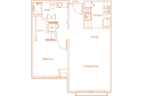653 sq. ft. WILCREST floor plan