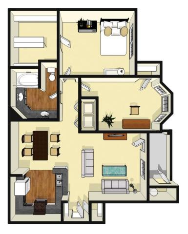 960 sq. ft. Deerwood floor plan