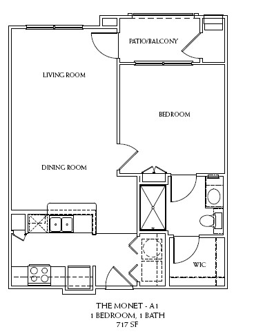717 sq. ft. A1 floor plan