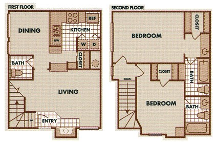 1,054 sq. ft. B1-TH floor plan