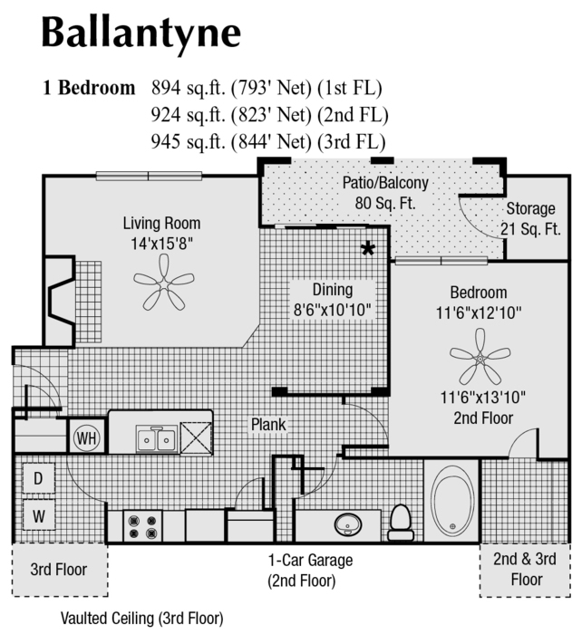 844 sq. ft. to 933 sq. ft. E floor plan
