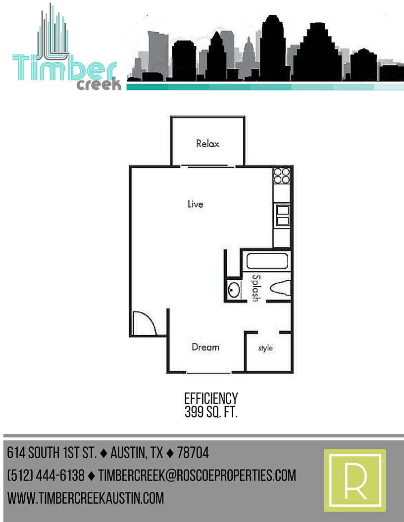 399 sq. ft. E floor plan