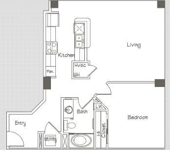 772 sq. ft. A6 floor plan