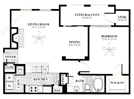 798 sq. ft. Alcove floor plan