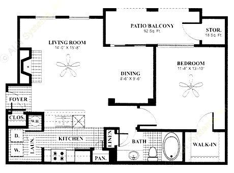 798 sq. ft. Alcove floor plan