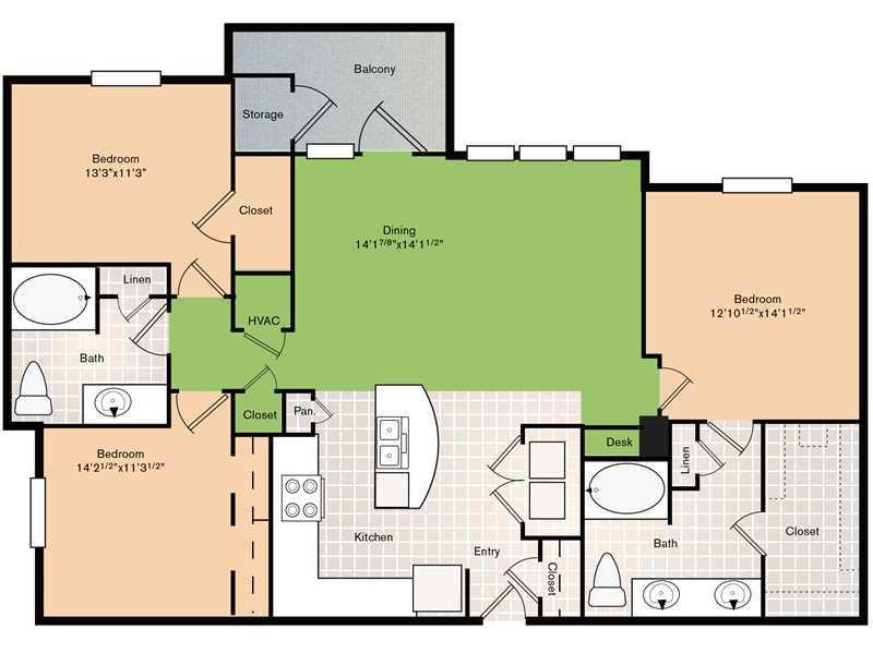 1,486 sq. ft. C1 floor plan