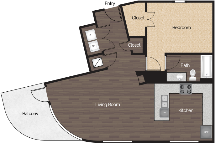 862 sq. ft. 1x1 C floor plan