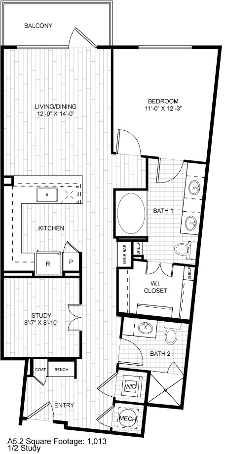 1,013 sq. ft. A5.2 floor plan