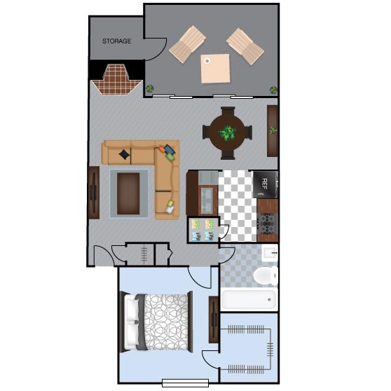 756 sq. ft. A4 floor plan