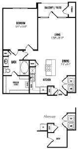 838 sq. ft. Bembridge - A2.3 floor plan