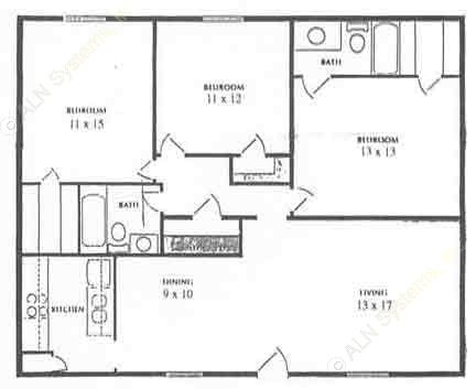 1,300 sq. ft. floor plan