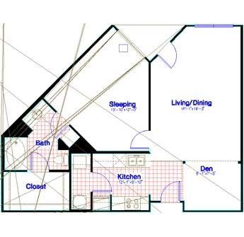 951 sq. ft. to 965 sq. ft. floor plan