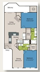 1,280 sq. ft. B3A floor plan
