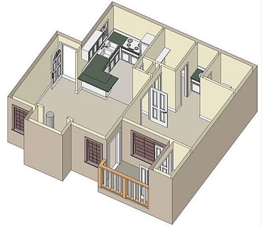 533 sq. ft. A2 floor plan