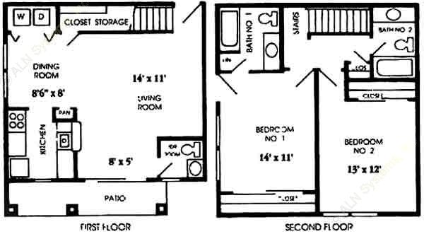 1,092 sq. ft. B3 floor plan
