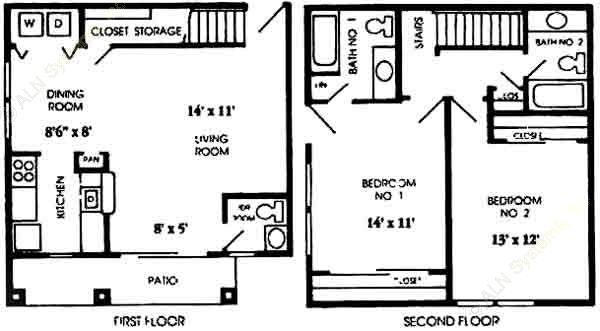 1,092 sq. ft. B3 floor plan