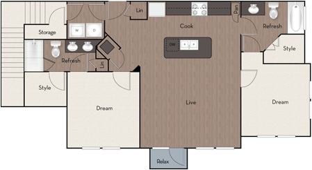 1,076 sq. ft. B1 3RD floor plan