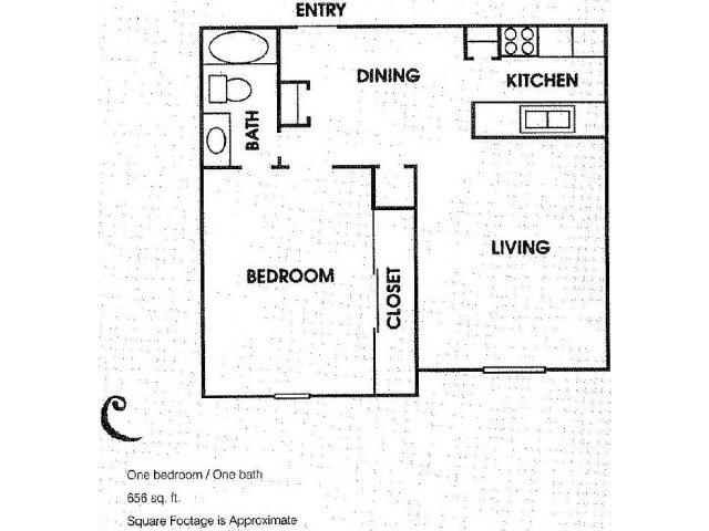 656 sq. ft. A3 floor plan
