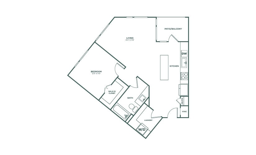 789 sq. ft. A4B floor plan