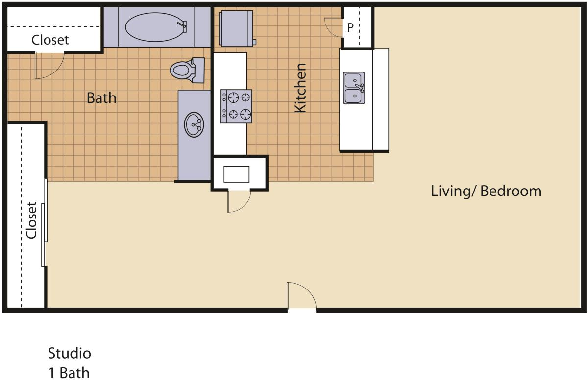 440 sq. ft. Park floor plan