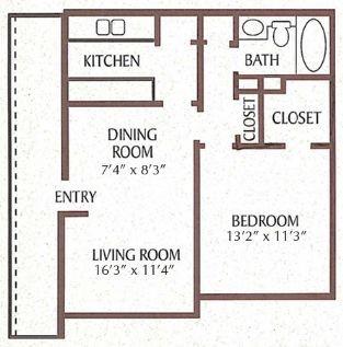 625 sq. ft. Camelia floor plan