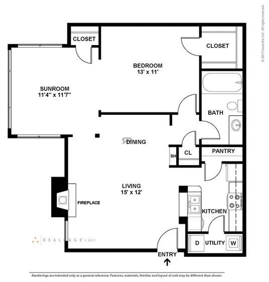 808 sq. ft. A6 floor plan