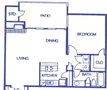 826 sq. ft. A3 floor plan
