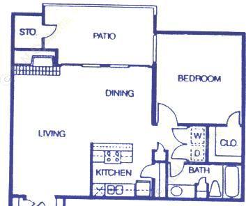 826 sq. ft. A3 floor plan