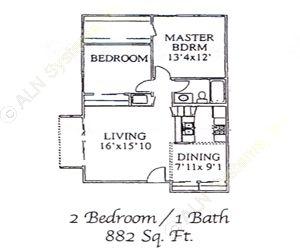 882 sq. ft. 60 floor plan