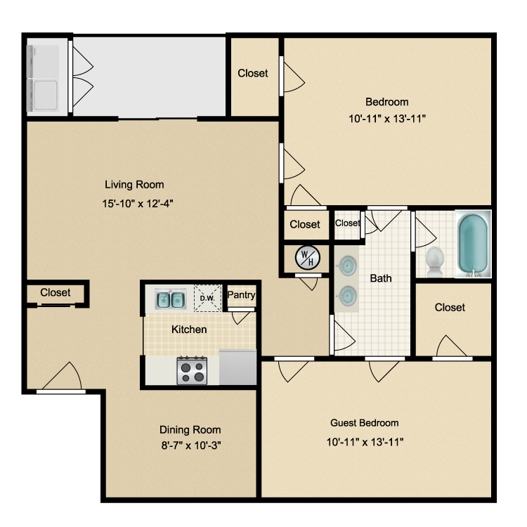 1,005 sq. ft. F floor plan