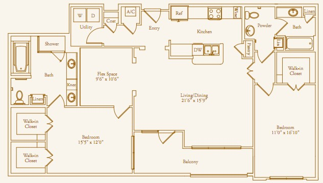 1,566 sq. ft. Chevy Chase Alt floor plan
