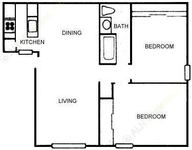 801 sq. ft. B1 floor plan
